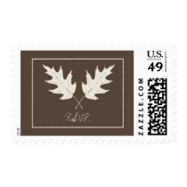 Fall Wedding R.S.V.P. Brown With Oak Leaves Postage