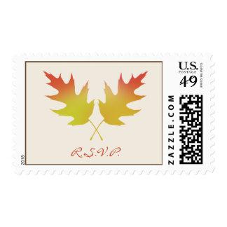 Fall Wedding R.S.V.P. Postage - Oak Tree Leaves