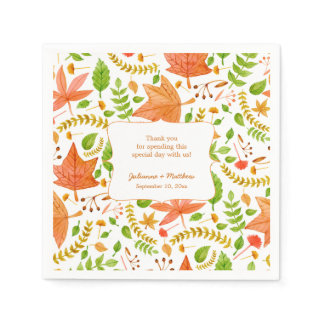 Fall wedding reception napkins / thank you message