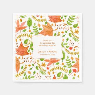 Fall wedding reception napkins / thank you message standard cocktail napkin
