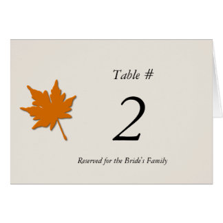 Fall Wedding Reception Table Number Card