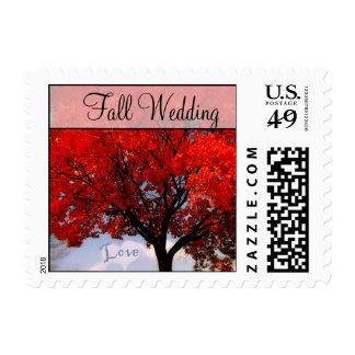 Fall Wedding  Red Leaf Tree and Love on Heart Postage