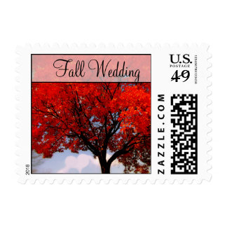 Fall Wedding  Red Leaf Tree Heart Cloud Postage