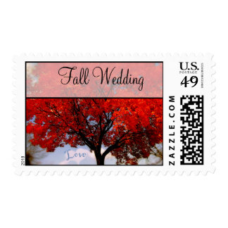 Fall Wedding  Red Leaf Tree Heart Love Cloud Postage