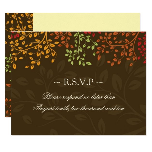 fall wedding reply cards