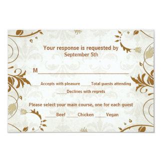 Fall Wedding Response and Meal Choice Card Custom Invitations