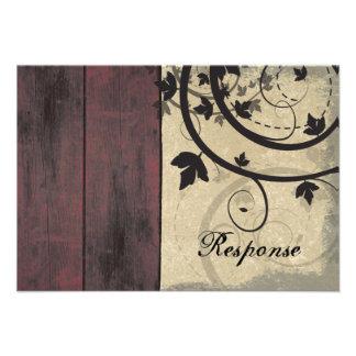 Fall Wedding Response RSVP Card Barn Board Personalized Invitations