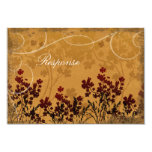 Fall Wedding Response RSVP Card Red & Orange Custom Invite