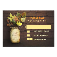 Fall wedding RSVP cards with mason jar