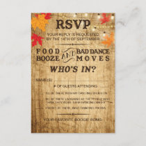 Fall wedding RSVP for rustic wedding
