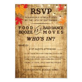 Fall wedding RSVP for rustic wedding Card