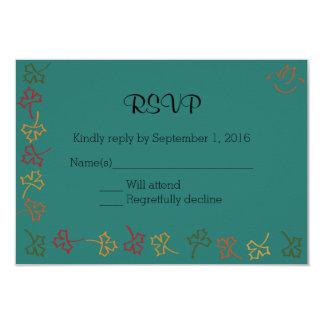 Fall Wedding RSVP in Teal Card