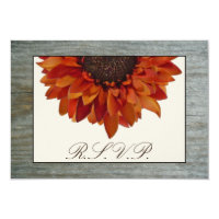 Fall Wedding RSVP - Sunflower &amp; Barnwood 3.5&quot; X 5&quot; Invitation Card (<em>$1.91</em>)