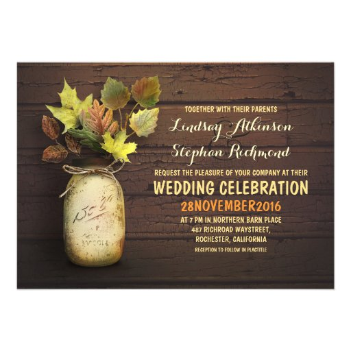 Fall Wedding Amp Rustic Mason Jar Invitations 5 X 7