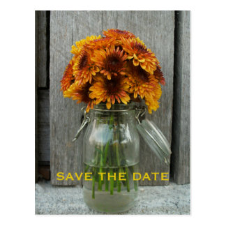Fall Wedding Save The Date - Barnwood & Flowers Post Cards