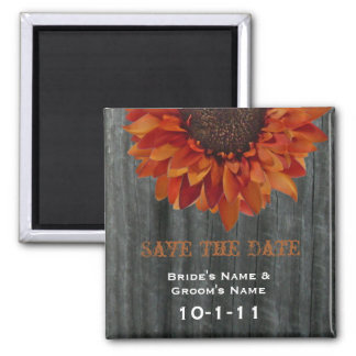 Fall Wedding Save The Date - Barnwood & Sunflower 2 Inch Square Magnet