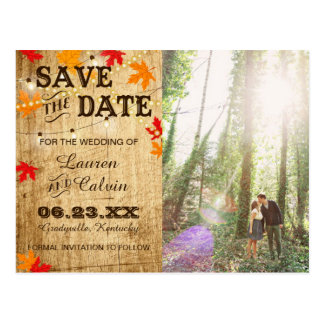Fall wedding Save the Date for a rustic wedding Postcard
