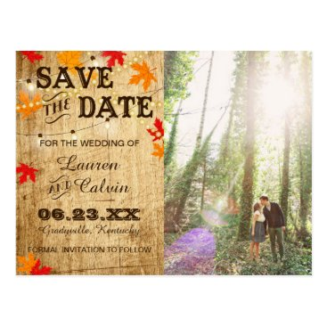langdesignshop Fall wedding Save the Date for a rustic wedding Postcard