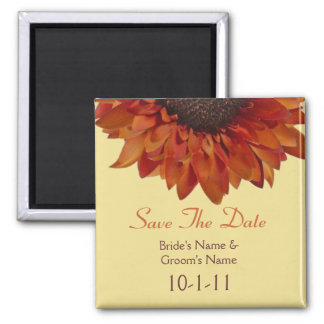Fall Wedding Save The Date - Orange Sunflower 2 Inch Square Magnet