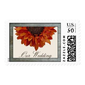 Fall Wedding Sunflower Barnwood Postage