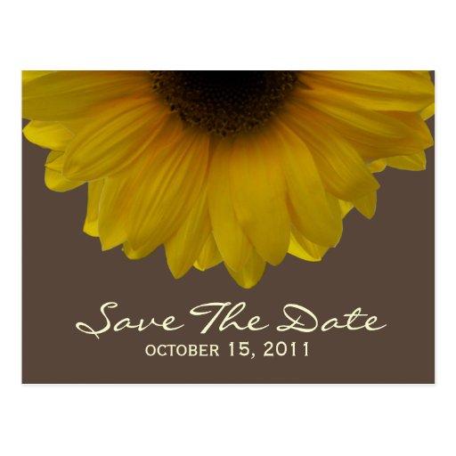 Fall Wedding Sunflower Save The Date Postcard