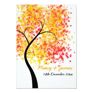 "Fall Wedding Swirly Tree ""Save The Date"" 5x7 Paper Invitation Card"