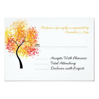 Fall Wedding Swirly Tree Wedding RSVP 3.5x5 Paper Invitation Card