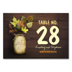 Fall wedding table number cards with mason jar table cards