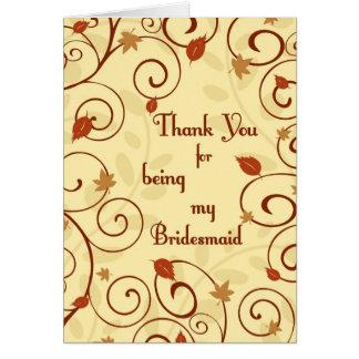 Fall Wedding Thank You Bridesmaid Card