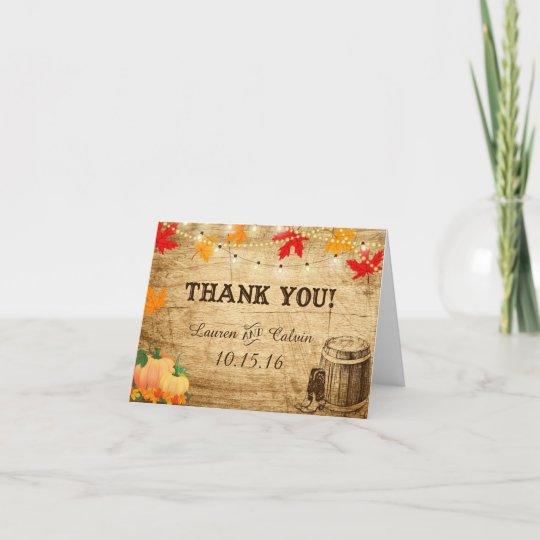 Fall Wedding Thank You Card For A Rustic Wedding Zazzlecom