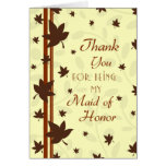 Fall Wedding Thank You Maid of Honor Card