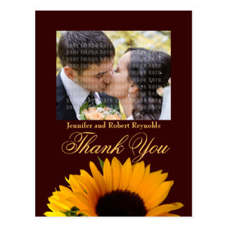 Fall wedding Thank You Post Card (yellow back)