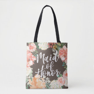 Fall Wedding Watercolor Floral Maid of Honor Tote Bag