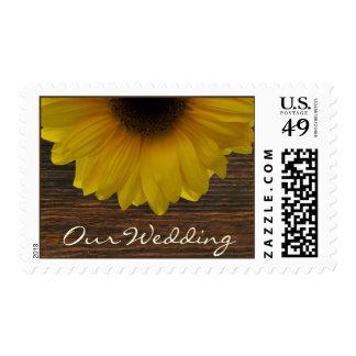 Fall Wedding Yellow Sunflower & Barnwood Postage Stamp
