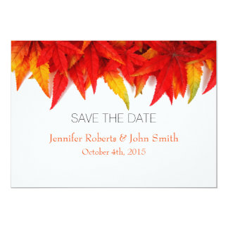 Fall Weddings Save The Date Autumn Leaves Card