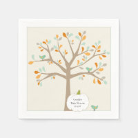 Fall White Pumpkin baby shower with name date Paper Napkin