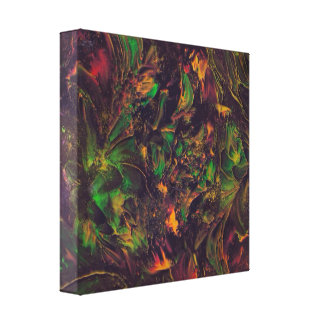 Fall Wind Blowing Leaves And Flowers Painting Canvas Print