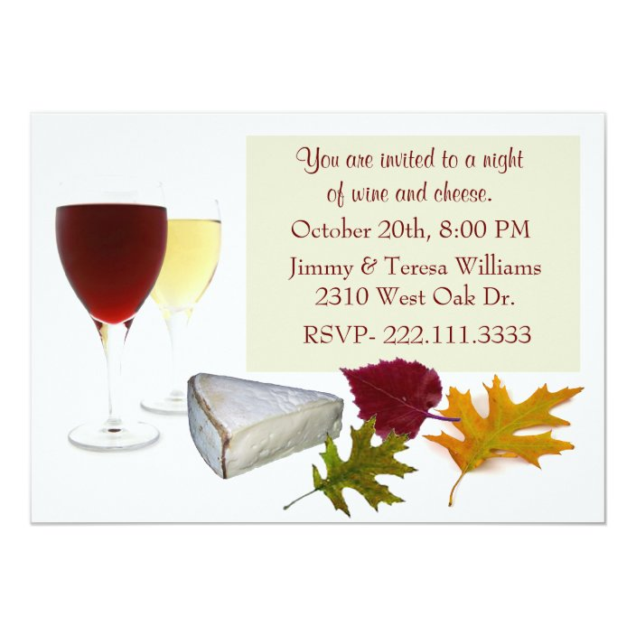 Fall Wine And Cheese Party Invitation