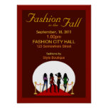 Fall Winter Fashion Show Designer Red Posters Poster
