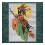 fall witch green background poster