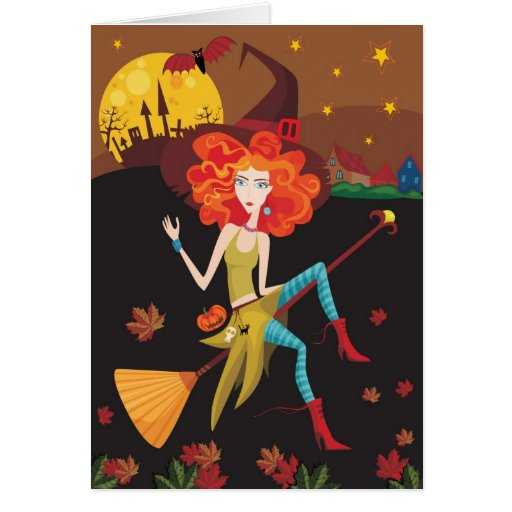 Fall Witch Greeting Card