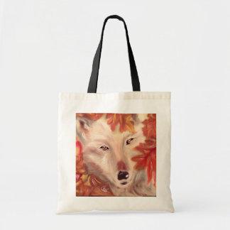 Fall wolf tote bag