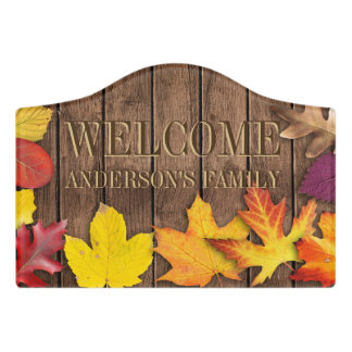 Fall Wood - Family Welcome Door Sign