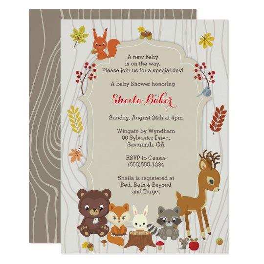 fall woodland themed baby shower invitation zazzle com