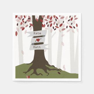 Fall Woodland Wedding Napkins - Red Leaves Paper Napkins