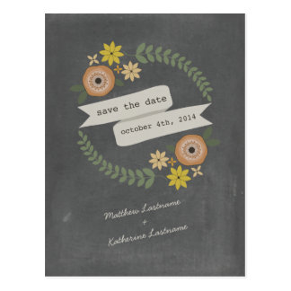 Fall Wreath Chalkboard Inspired Save The Date Postcard