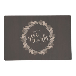 Fall Wreath Give Thanks | Thanksgiving Placemat