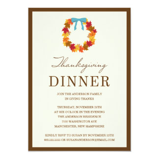 "FALL WREATH IN BLUE   THANKSGIVING DINNER INVITE 5"" X 7"" INVITATION CARD"