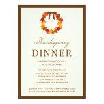 "FALL WREATH IN BROWN   THANKSGIVING DINNER INVITE 5"" X 7"" INVITATION CARD"