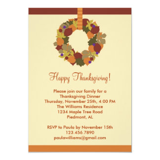 Fall Wreath Thanksgiving Dinner Invitation